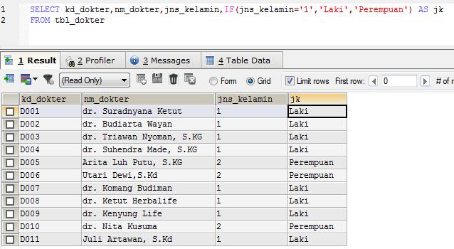 Menggunakan Klausa IF dalam perintah SQL