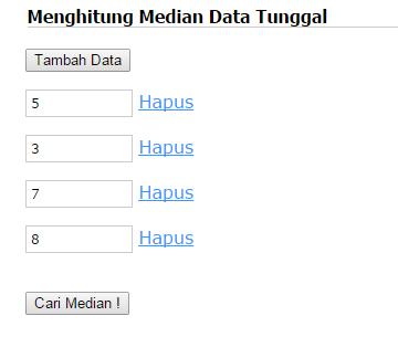 Form input mencari median data tunggal