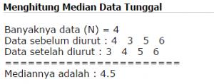 Hasil output mencari median data tunggal
