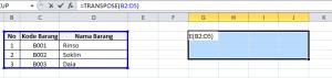 Transpose data dengan Transpose Function