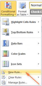 Mengubah warna baris berdasarkan nilai di excell