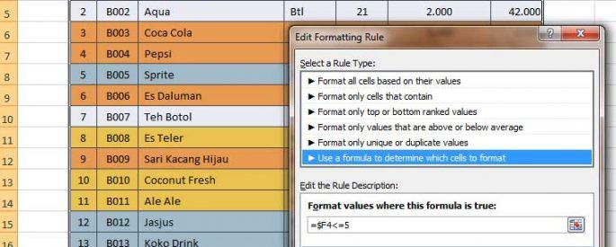 Mengubah warna baris dengan membuat rule baru