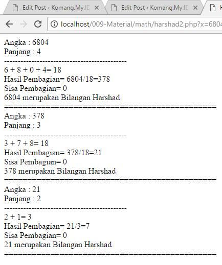 Contoh Output Bilangan Harshad dengan PHP