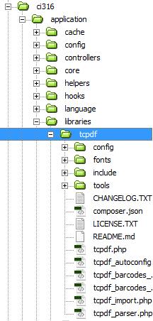 Struktur folder Libraris pada Laporan PDF dengan CodeIgniter dan TCPDF