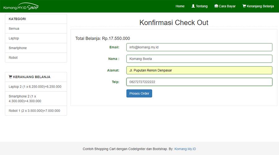 Membuat Shopping Cart dengan CodeIgniter dan Bootstrap: Check Out