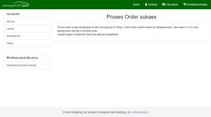 Membuat Shopping Cart dengan CodeIgniter dan Bootstrap: Order sukses